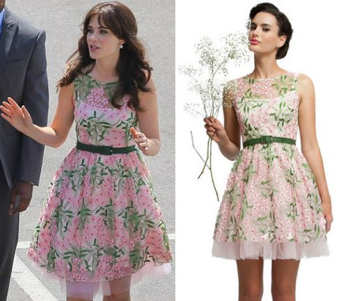 Zooey Deschanel was on the set of New Girl yesterday wearing this pink and green floral embroidered dress with pink pumps. Eva Franco Renee Dress in Swan Lake - $320  p.s. you can buy a shift dress version here