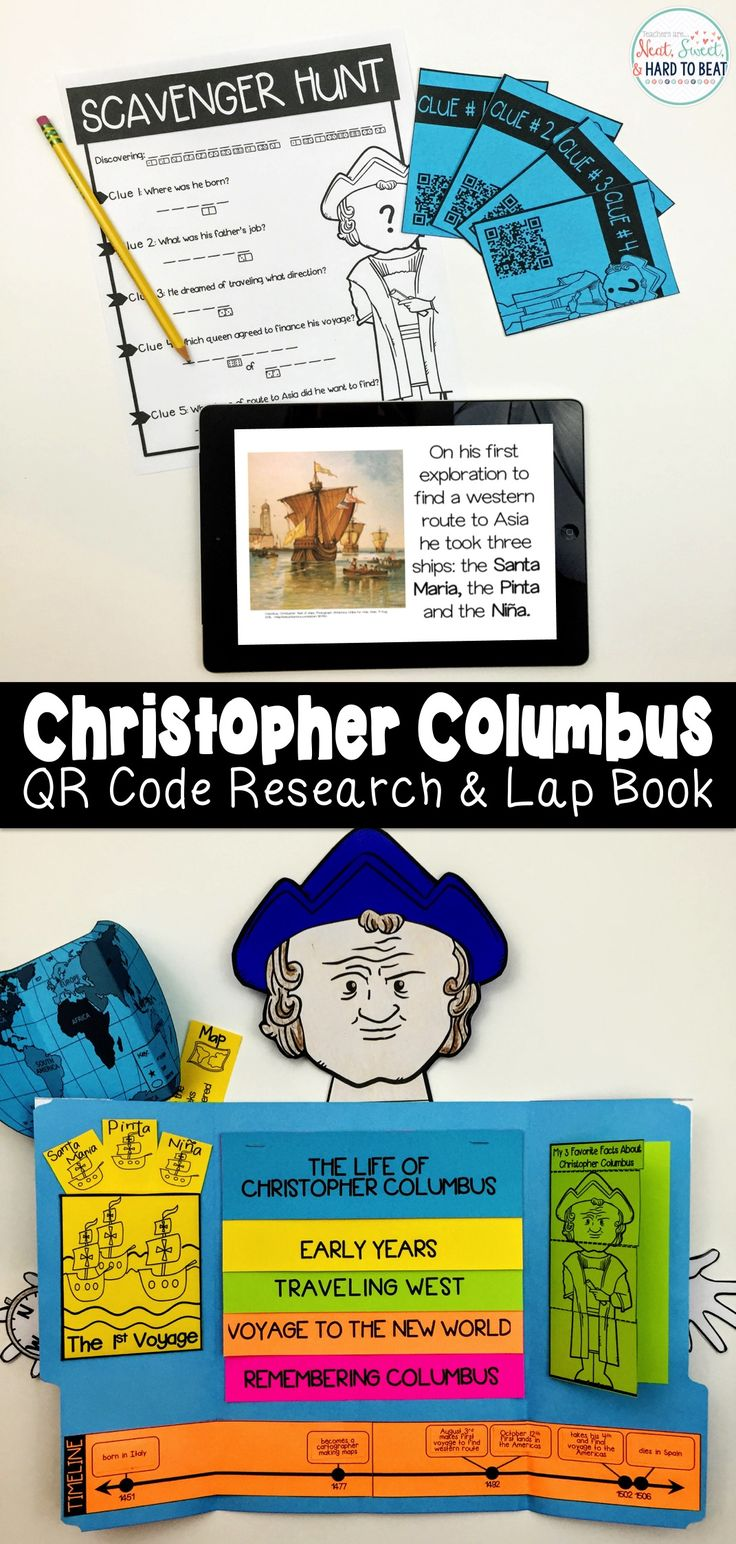 Christopher Columbus QR Code Research project and lap book for Columbus Day! Learn all about Columbus by scanning QR codes, reading about his life and discovering who he was. Then complete a lap book made to look like Columbus. Lap book includes timeline, flip book, ship facts, 1st voyage map, and favorite fact flaps.