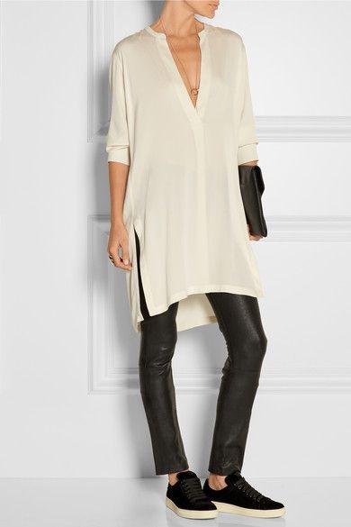 Ivory stretch-silk Slips on 93% silk, 7% spandex Dry clean