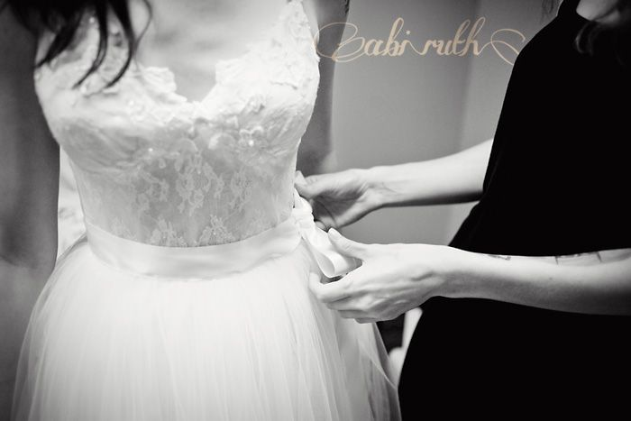 lacy nightgown + handmade tulle skirt with ribbon belt = diy wedding dress!