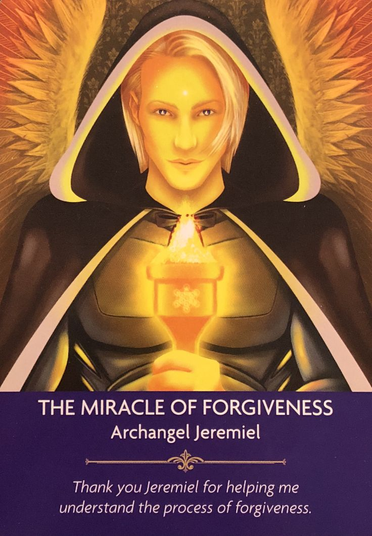 "Daily Angel Oracle Card: The Miracle Of Forgiveness, from the Angel Prayers Oracle Card deck, by Kyle Gray artwork by Jason Mccreadie The Miracle Of Forgiveness: ""Archangel Jeremiel"" &#…"
