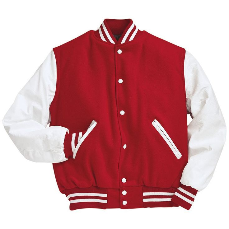 Maroon varsity jacket with black sleeves