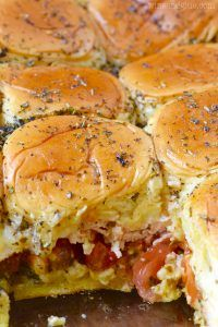 These Italian Pesto Sliders are easy to throw together and so delicious! Perfect for a party or easy weeknight meal!