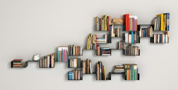 Furniture. black sheet metal wall mount book shelves with cool vintage alarm clock and books collection hanging on white painted wall. Agreeable Modern Library Shelves Design