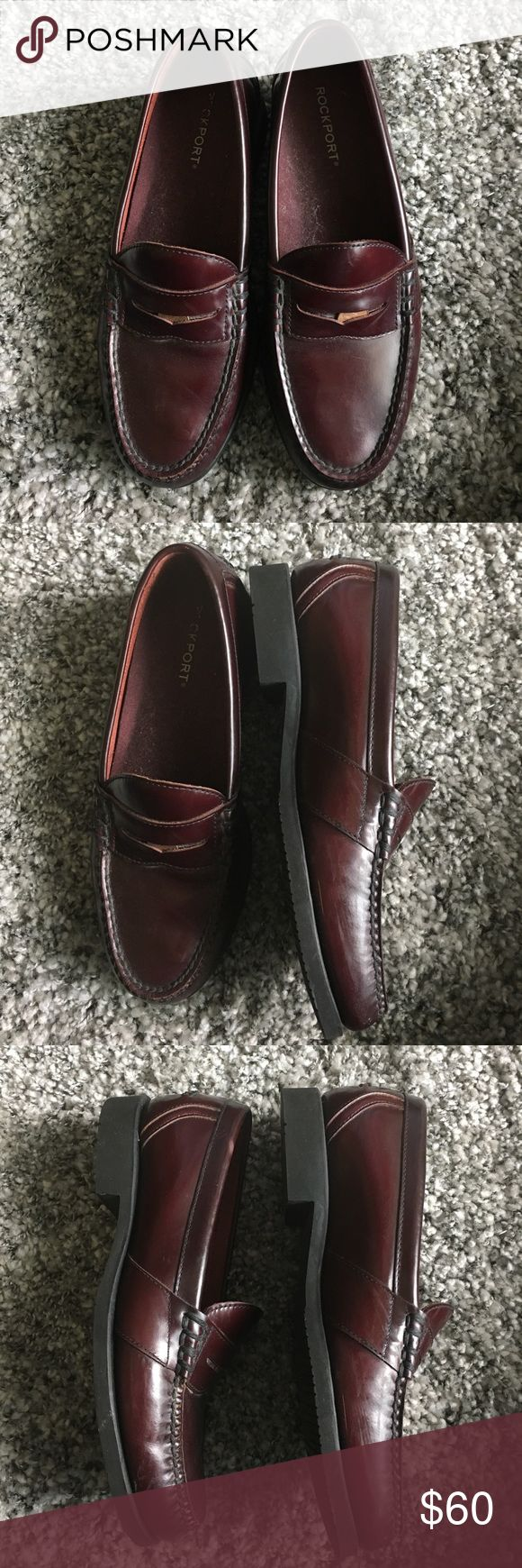 Men's Brown Loafers Dark cherry brown loafers leather Rockport Shoes Loafers & Slip-Ons