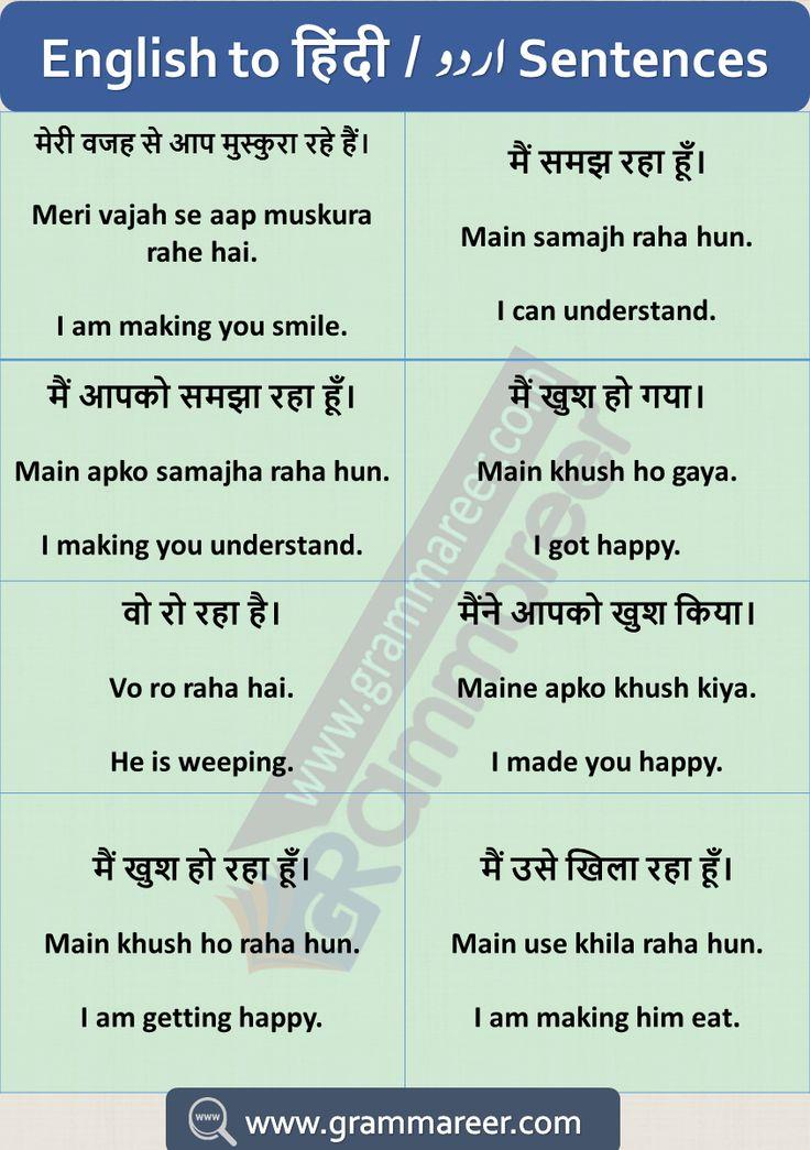 Hindi to English Sentences Translation Examples Used in