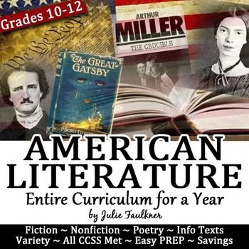 Bundle of my Best-selling, Classroom-tested units for American literature. With this set of resources, you will have a full year's worth of materials for teaching the canon of American literature  from America's beginnings to today.  Teach from Native American literature to Hemingway's realism to Bradbury's science fiction.