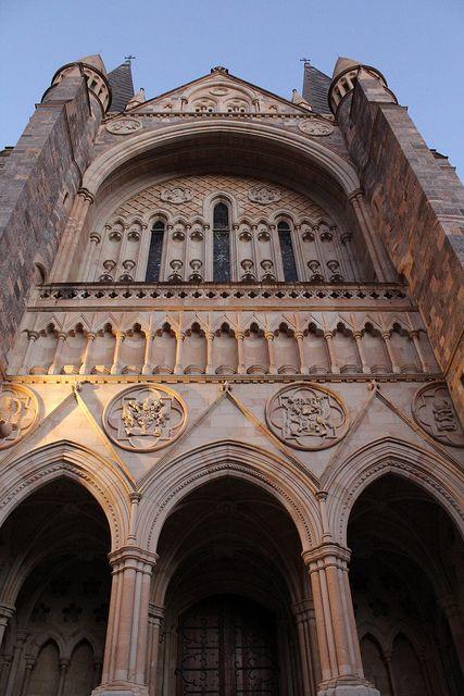 Grand, looming entrance - St. John's Cathedral, Brisbane Australia