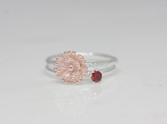 January - Carnation, Garnet.  For celebration, these birth flower and stone rings are best choice ever. birth flower ring is made by hand carved as real flower and so delicate. birth stone ring is made of sterling silver and high quality stone. as a gift, it is perfect for birthday and anniversary(ex. children, couple and friends), moreover you can make your own meaningful rings set.  - Detail -  Birth flower ring flower size : 8.9 *9 mm  band : 1.5mm  Birth stone ring  stone : 3mm  band…