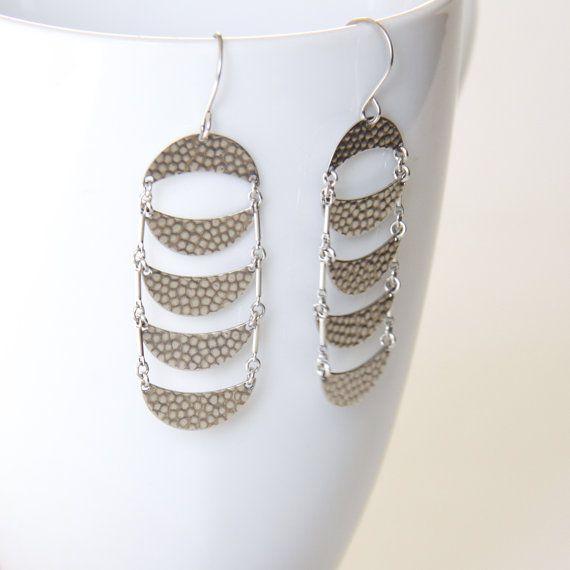 Crescent moon shape dangle earrings handmade of recycled