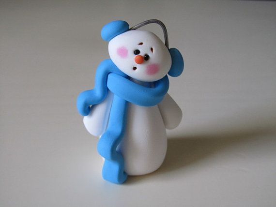 *POLYMER CLAY ~ Whimsical Snowman Figurine