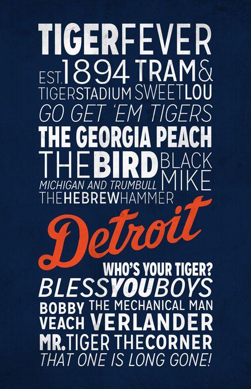 Detroit Tigers Print by BigLeaguePrints on Etsy, $18.00  -  http://www.etsy.com/listing/169895841/detroit-tigers-print?ref=market