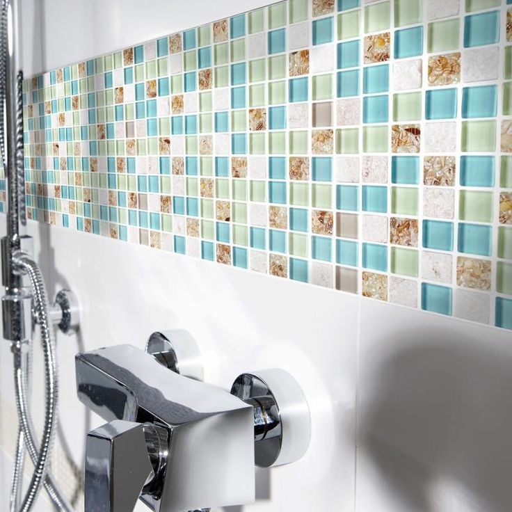 Blue color crystal glass mixed sea shell mosaic hmgm1148 for kitchen backsplash tile bathroom for Sea glass mosaic tile bathroom