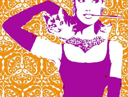 Audrey Hepburn & 'Tupu' Design Tea Towel by Plum Jam
