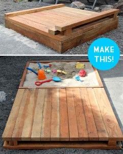 Pläne, einen Sandkasten für die Kinder mit Paletten bauen