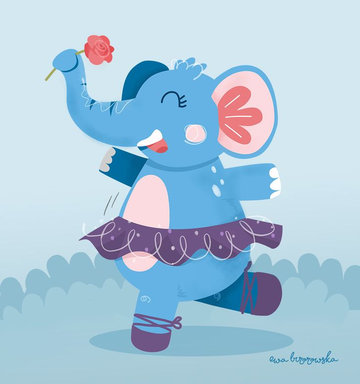 Elephant Ballerina - illustration.  Every dream can come true. Event as abstract as an elephant dreaming about being a ballerina. Because, why not? ;)  Simple, vector illustration for children.