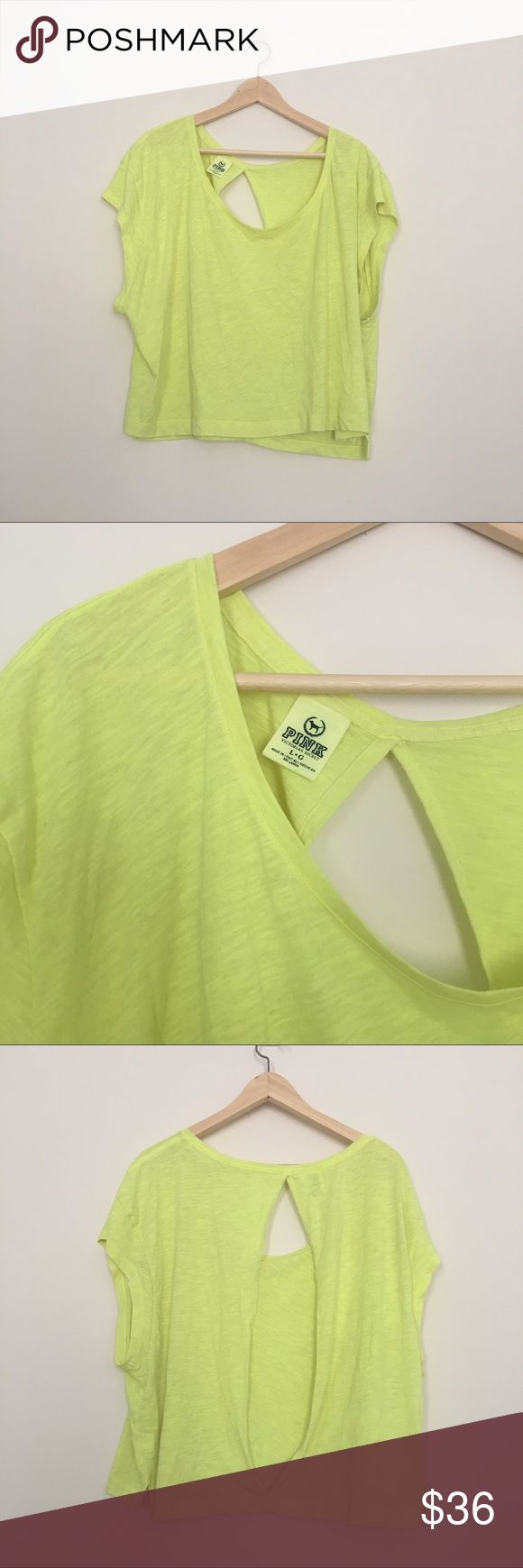Pink VS neon yellow top Excellent flawless condition neon yellow top with opening in the back PINK Victoria's Secret Tops Tees - Short Sleeve