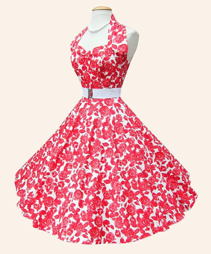 <3 <3 <3  50s Halterneck Floral Dress   1950s Dresses from Vivien of Holloway