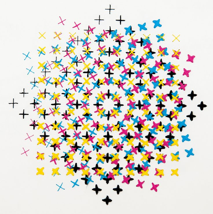 cmyk embroidery by evelin kasikov: Amazing Quilt, Crosses Stitches Pattern, Hands Embroidery, Cmyk Embroidery, Eveline Kasikov, Graphics, Blog, Optical Illusions Art, Crafts