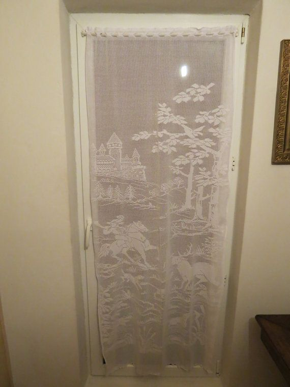 Filet Crochet Curtain with castle and hunting scene - crocheted in high quality cotton - $3,439.24