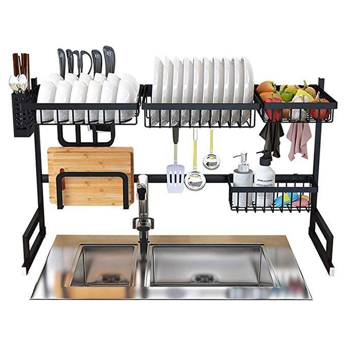 Amazon Com Dish Drying Rack Over Sink Display Stand Drainer Stainless Steel Kitchen Supplies Storage Shelf Ute Dish Rack Drying Kitchen Rack Kitchen Sink Rack