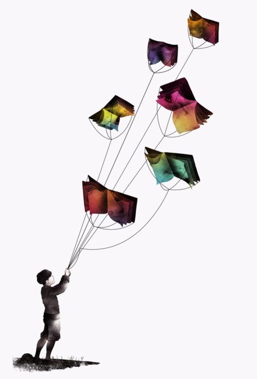 fly with wordsBooks, Book Art, Reading, Gelrev Ongbico, Fly Book, Illustration, Art Prints, Imagine Fly, Book Kite