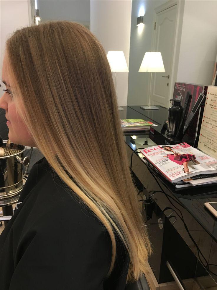 lang haar, bruin haar, highlights, stijl haar