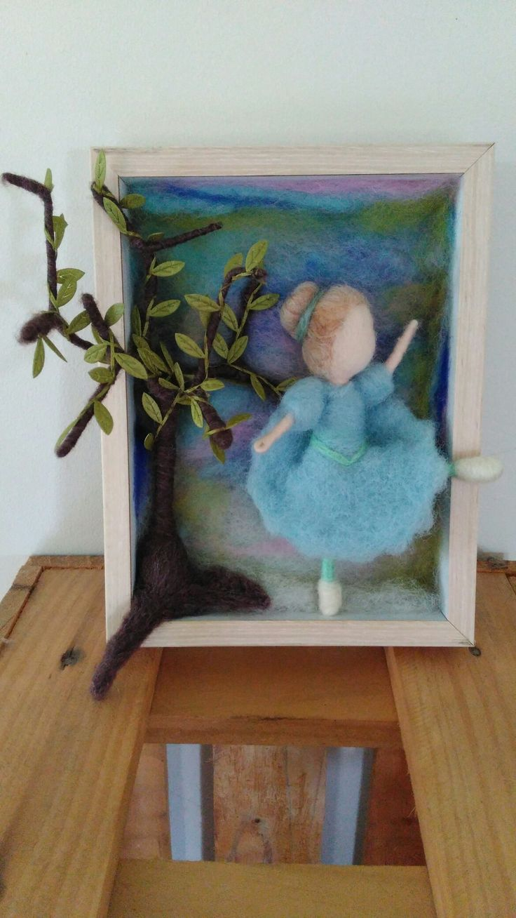 Felted 3D picture in wooden frame. Ballerina