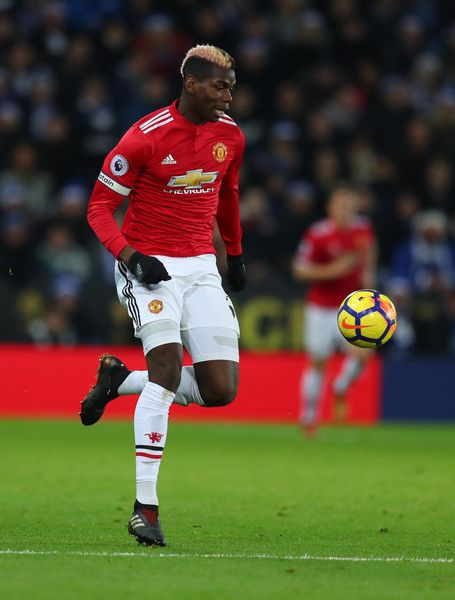 Paul Pogba of Manchester United during the Premier League match between Leicester City and Manchester United at The King Power Stadium on December 23, 2017 in Leicester, England.