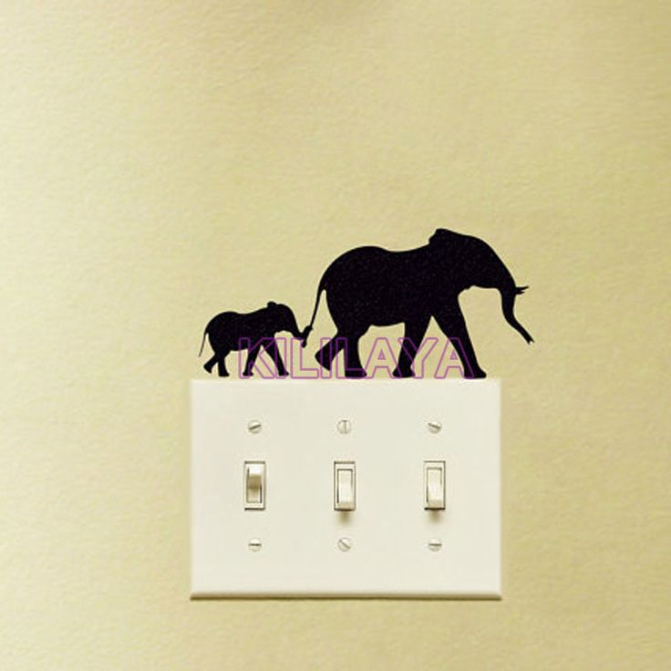 Aliexpress.com : Buy Mother And Baby Elephant Wall Sticker for Powerpoints and Light Switches Wall Decal Removable Home Decor Wallpaper Living Room from Reliable sticker diamond suppliers on Kililaya