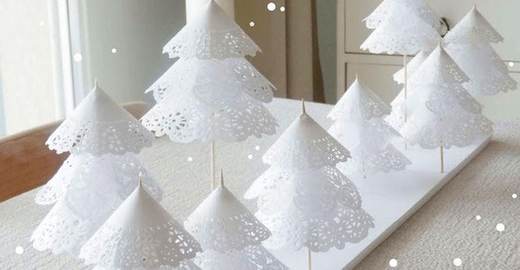 вариант для новогоднего декора.  кружевные бумажные салфетки