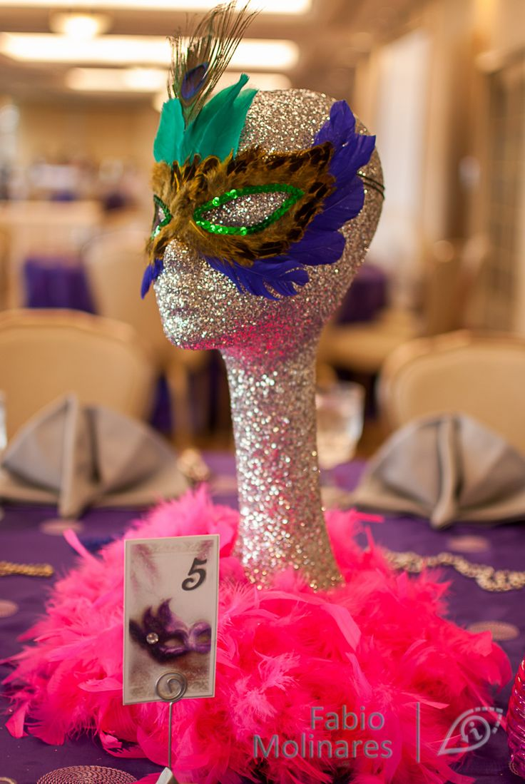 Just the glittered Styrofoam head with a colorful wig as some of the centerpieces?