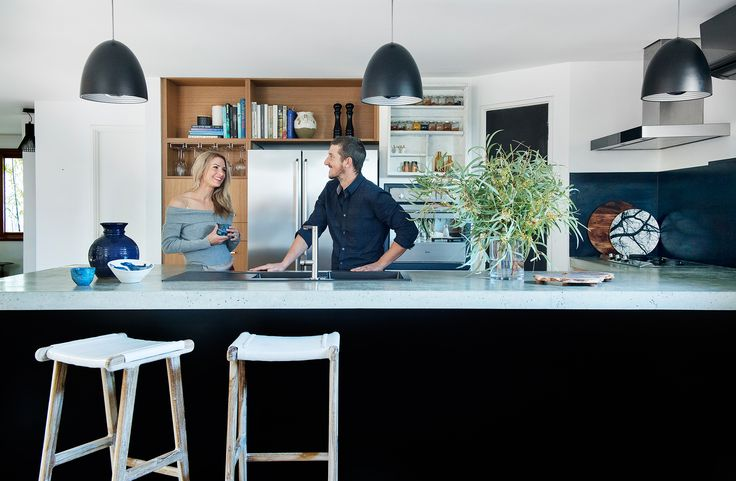The concrete benches in this modern kitchen were hand-poured by the owners of this family home in Perth. Photography: Jody D'Arcy | Story: Australian House & Garden