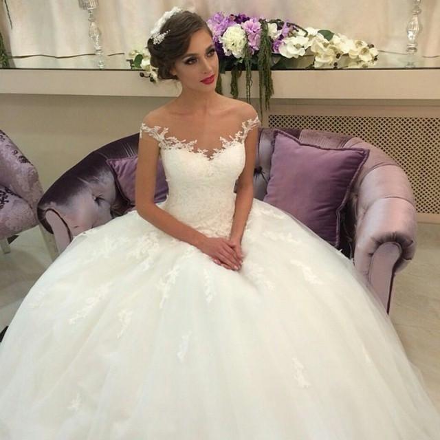 Великолепные Кружева Аппликация Бальное Платье Свадебные Платья С Плеча Рукавов Суд Поезд Тюль