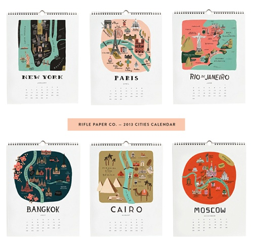 2013 Cities Calendar from the Rifle Paper Co.