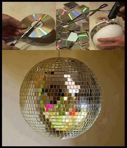 DIY Disco Ball..... All you do is take CD's and cut them up and then paste them with a hot glue gun and stick them on a foam ball.