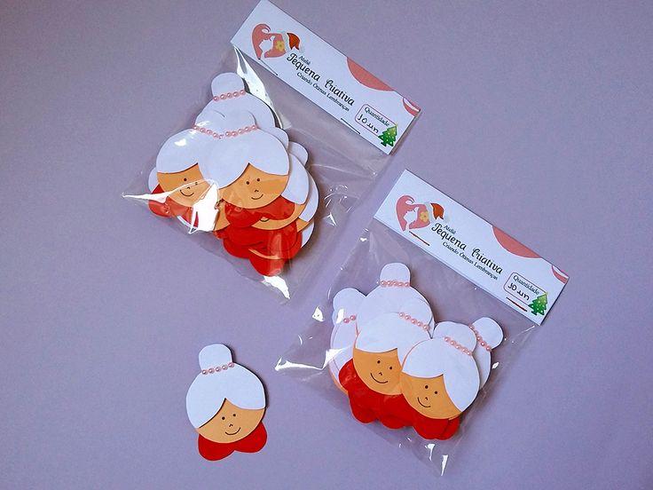 Aplique natalino mamãe noel para decoração de cartões, presentes, guirlandas, caixinhas, na decoração da mesa natalina e para os aniversários natalinos. Festa Natalina.