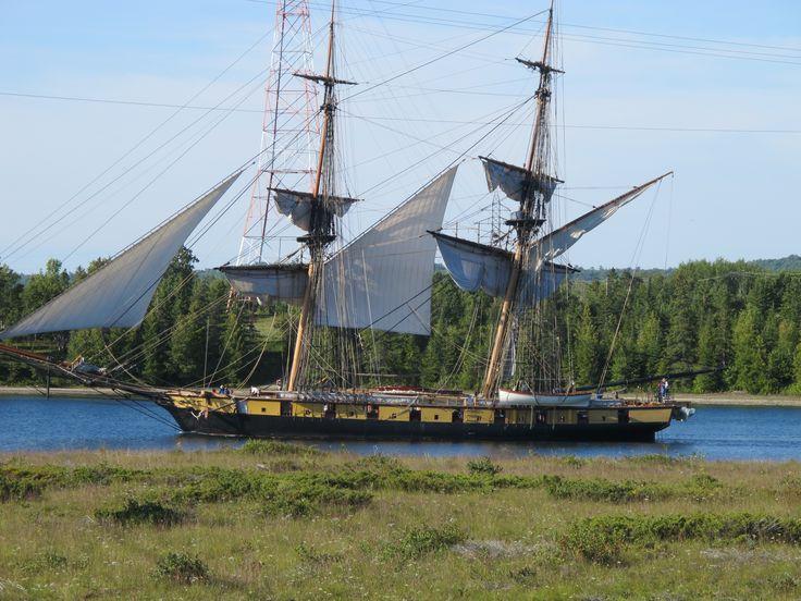 Tall Ships sailing along Manitoulin Island, Ontario, Canada