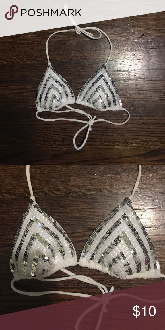 Triangle bikini top White triangle bikini top with silver sequins PINK Victoria's Secret Swim Bikinis