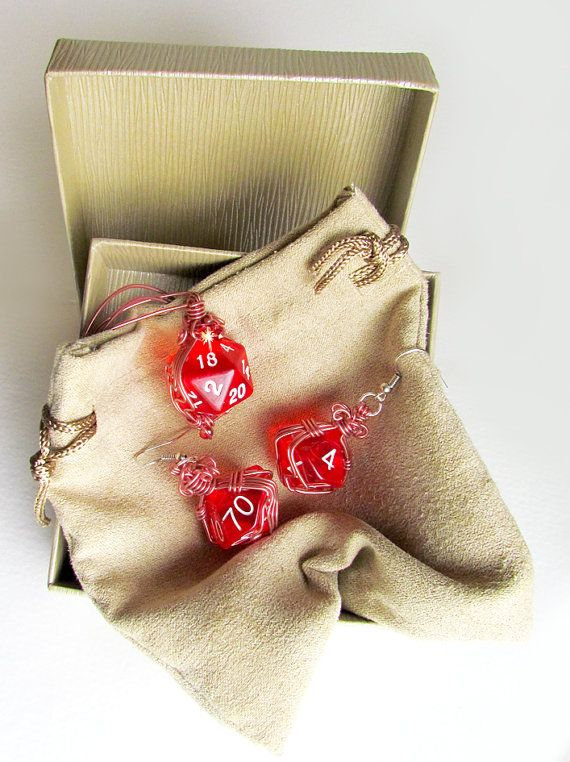 Dungeons and Dragons jewelry set of red clear dice wire-wrapped in copper colored wire with fiery red iridescent glass beads