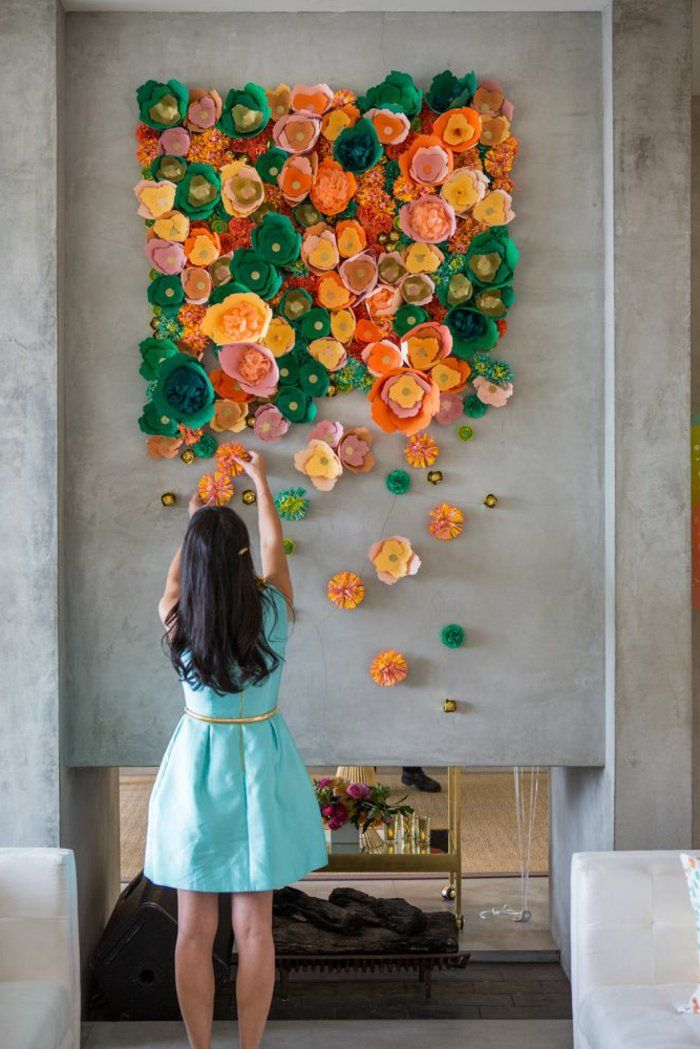 wandgestaltung ideen kreativ farbige blumen. Black Bedroom Furniture Sets. Home Design Ideas