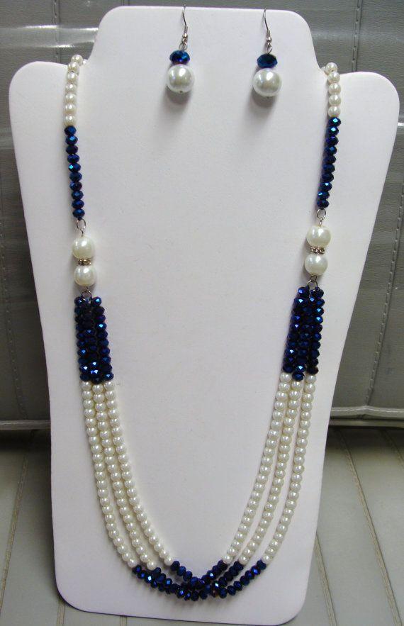 venta 10.00 perlas y cristales de collar con aretes