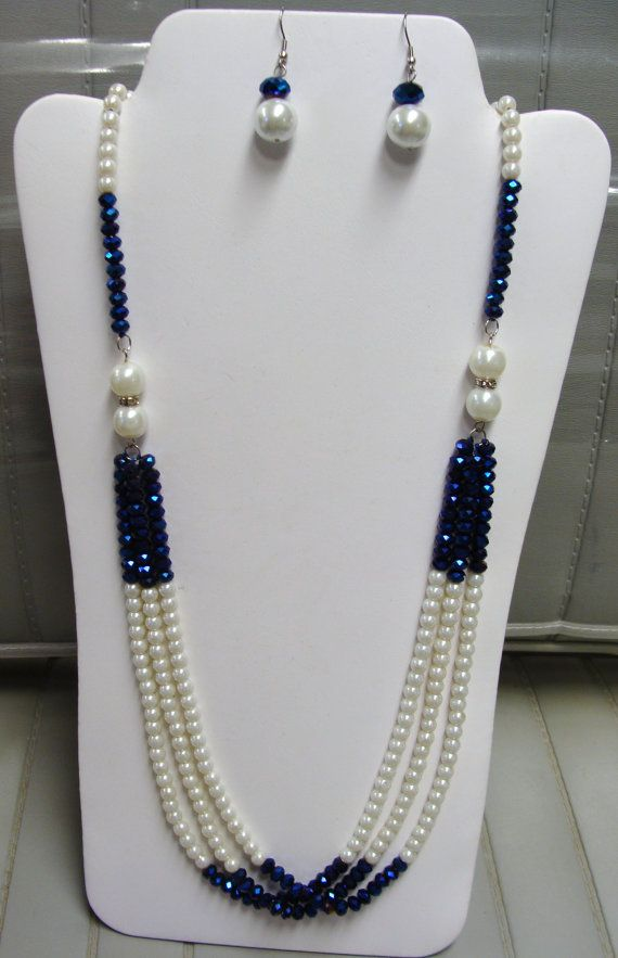 PEARLS  and CRYSTALS  NECKLACE with by BETTYSJEWELRYDESIGNS, $47.00