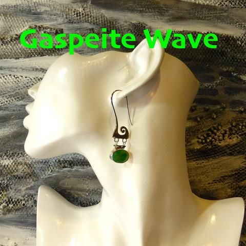 Earring Gaspeite & Silver Wave | 925 Sterling Silver | Authentic Stone | Crystal Heart Melbourne Australia since 1986