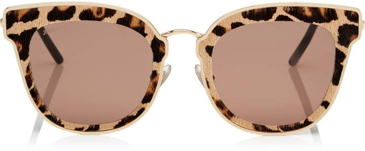 820f4c3f1dbd NILE Rose Gold Metal Cat-Eye Sunglasses with Leopard Cavallino Leather  Detailing