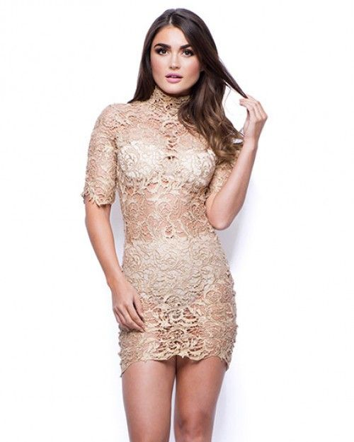 Sexy Ladies Gold Lace Mini Dress with Short Sleeves - Thumbnail