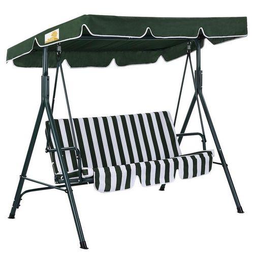 Patio Porch Deck Steel Frame 3-Seat Canopy Swing Hammock, Green, White