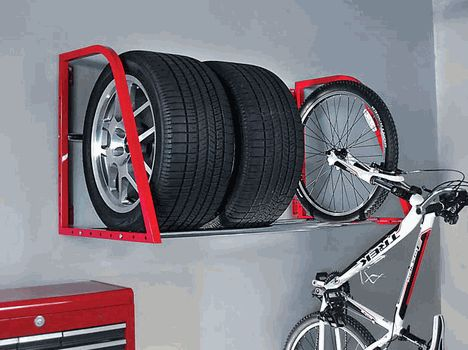 Red Wall Mounted Tire Rack