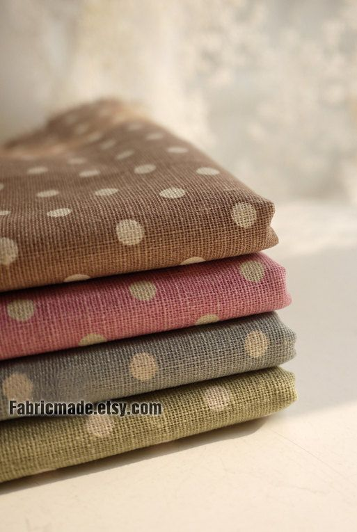 Vintage Polka Dot Fabric Dots Line Cotton Fabric by fabricmade