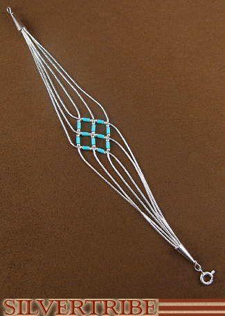 Hand Strung Genuine Liquid Silver Blue Turquoise Basket Weave Bracelet LS179BT